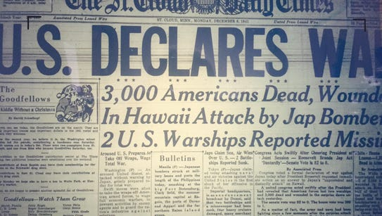The front page of the Times on Monday, Dec. 8, 1941.