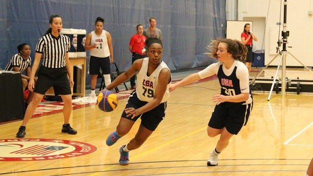Christyn Williams left) drives  Photo: USA Basketball)