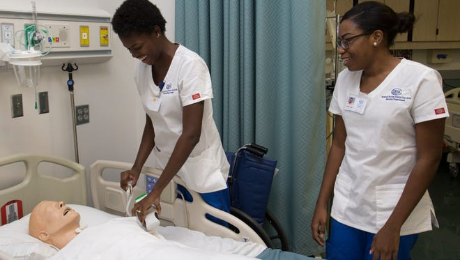 Niesha Gordon and Jalisa Smith are among the 20 nursing students to receive full tuition support from CareerSource Research Coast.