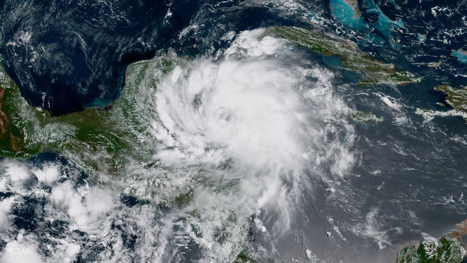 Tropical Storm Franklin approaches Mexico's Yucatan on Aug. 7, 2017.