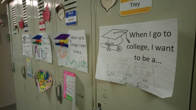 At Kirkwood Elementary, students write out what they want to do with a college degree.