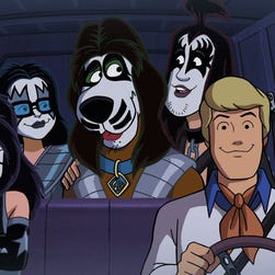 Kiss members Tommy Thayer, Gene Simmons, Eric Singer and Paul Stanley voice their cartoon counterparts in a Scooby-Doo team-up movie.