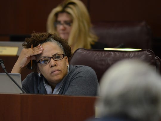 Dina Neal, D-Las Vegas listens in on a committee meeting