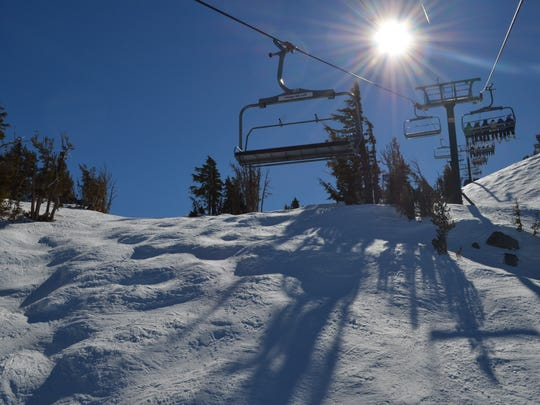 A high speed chairlift at Mt. Rose Ski Tahoe as seen on a winter day in 2013.