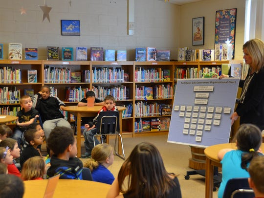 Mayor Pauline Repp talks about city government to Woodrow Wilson Elementary students Thursday morning in the school's media center.