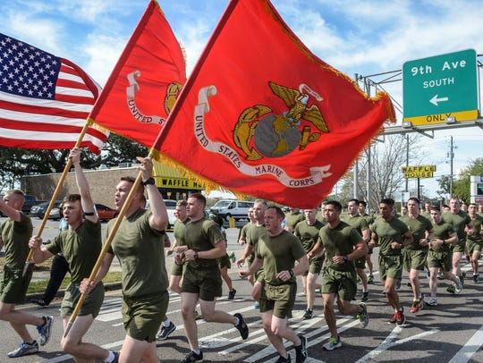 Anywhere from 400 to 800 Marines from MATSG-21 and MATSG-23 at Pensacola Naval Air Station will participate in formation runs at the McGuire's St. Patrick's Day Prediction 5K Run.
