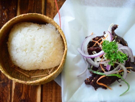 Sticky rice and Laotian beef jerky are made in house