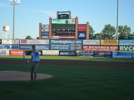 Brian Liebeskind throws out the first pitch at a Somerset