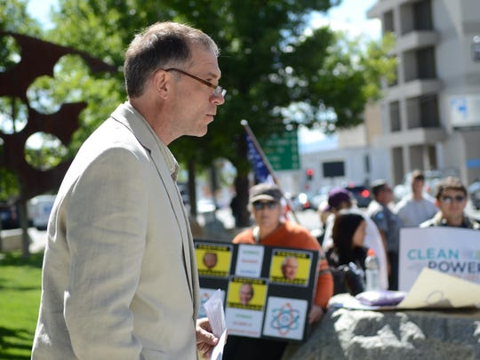 Brian Beffort, director of the Sierra Club's Toiyabe Chapter, speaks at a rally against EPA budget cuts on Sept. 23, 2017 outside the federal courthouse.
