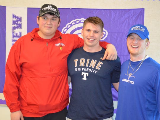 Lakeview standouts, from left, Cameron Wirtz (Ferris State), Steven Laws (Trine), Cam Gillette (Lawrence Tech) all signed on National Signing Day.