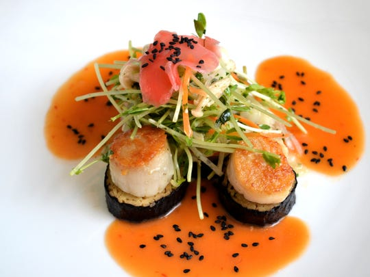 Seared day boat sea scallops from the Frog and the