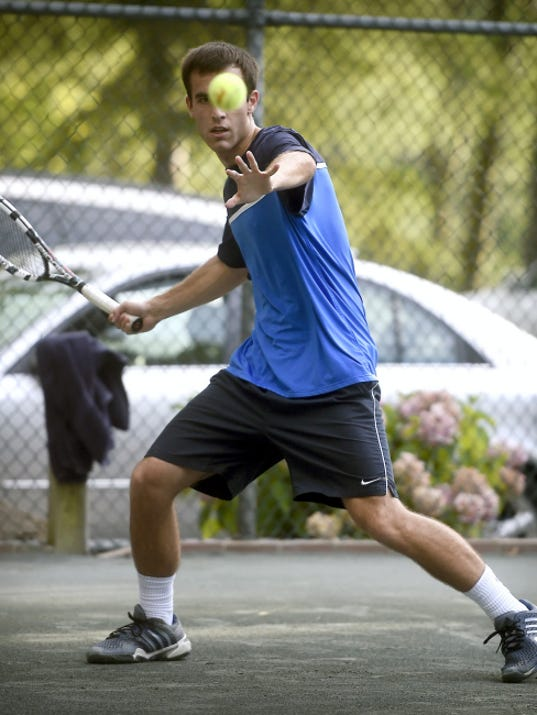 Mike Lesko lines up a forehand return during the Mt. Gretna singles final on Thursday night. Lesko defeated Jack Muraika 7-6 (7-3), 6-0 for the title in his first appearance in the event.