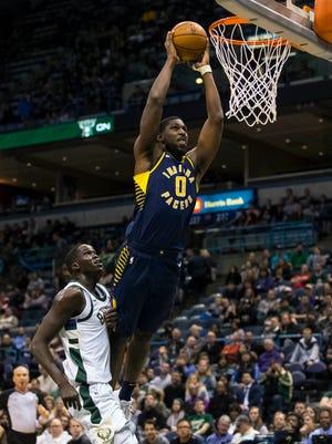 Indiana Pacers forward Alex Poythress (0) dunks during the fourth quarter against the Milwaukee Bucks at BMO Harris Bradley Center.