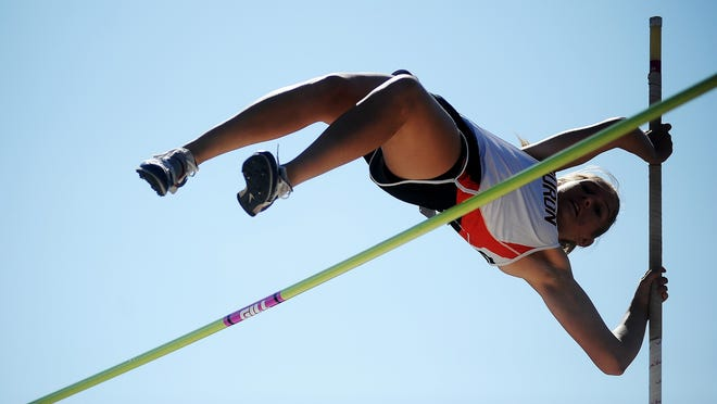 Huron's Shannon Katz competes in the girls pole vault during the Dakota Relays on Friday, May 2, 2014, at Howard Wood Field in Sioux Falls. (Joe Ahlquist / Argus Leader)