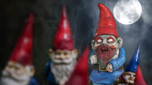 A zombie gnome joins a group of common garden gnomes.