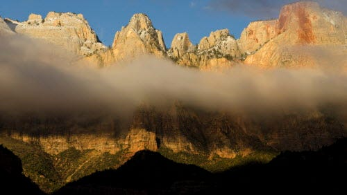 Morning Fog on the Towers of the Zion National Park. Utah. A coalition of civil rights and other groups is pushing for more minorities to use the parks