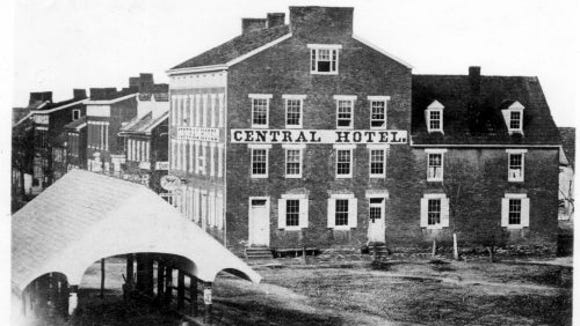 The town's public market shed and the Central Hotel were landmarks in Hanover's Centre Square.
