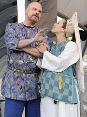 """From left: Mark A. Corkins and Beth Mulkerron perform in Optimist Theatre's production of William Shakespeare's """"A Winter's Tale"""" in July 2014 in Milwaukee."""
