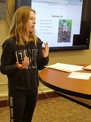 Tayler Konkol gives a presentation on Wednesday to