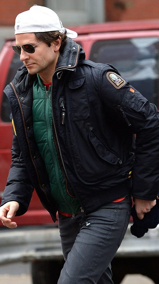 Bradley Cooper wearing his Parajumpers bomber jacket