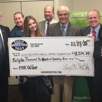 From left to right: Lou Casciario (The Reis Group Insurance), Megan Lawrence & Sarah Beinstein (Nixie Sparrow), Wayne Nussbickel (N&S Supply), Richard Fusco (Radio Woodstock General Manager), Ike Phillips (Radio Woodstock Vice President), Sandi Cassese (Vice President, Oncology Services at Vassar Brothers Medical Hospital).