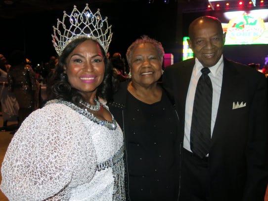 Queen Sobek XV Tari Bradford and parents Lillie and Hugh Bradford at Sobek Grand Ball.