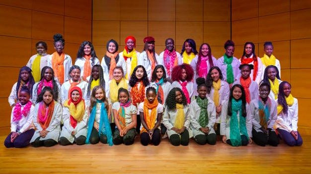 Pihcintu Multicultural Children's Choir of Portland, Maine, is made up of 35 immigrant girls from around the globe.