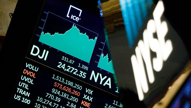 A board on the floor of the New York Stock Exchange shows the Dow Jones industrial average surpassing 24,000 for the first time on Nov. 30,  2017.