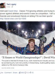 Alpine skier Ted Ligety made a Facebook post supporting freestyle skier David Wise's criticism of skiing's governing body.