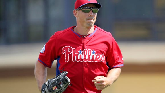 Phillies right fielder Brian Bogusevic returns to the dugout  during the fourth inning of a spring training baseball game March 14 against the Detroit Tigers at Joker Marchant Stadium. Credit: Reinhold Matay-USA TODAY Sports