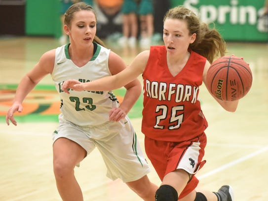 Norfork's Ivy McGowan brings the ball upcourt against