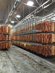 Interior view of meat curing