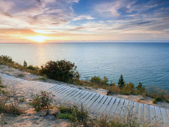 The scenic vistas overlooking Lake Michigan await the