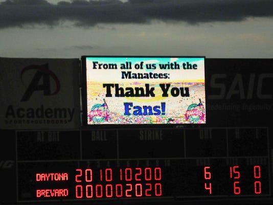Last Brevard County Manatees baseball games