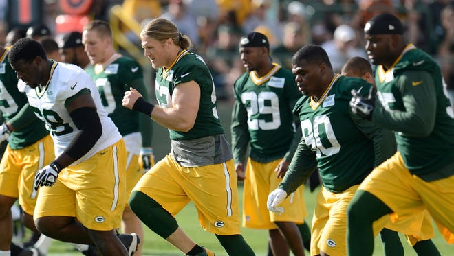 Clay Matthews and his Packers teammates at Sunday's training camp practice.