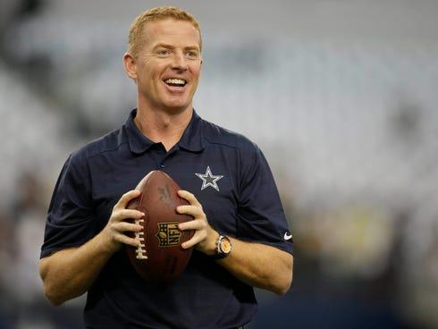 Dallas Cowboys head coach Jason Garrett before the game against the Green Bay Packers  at AT&T Stadium.