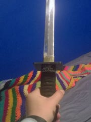 This is the sword Karen Dolley, 43, used on Thursday