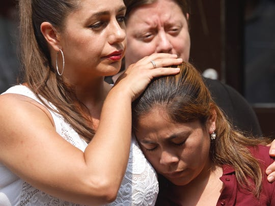 Yeni Gonzalez Garcia, a Guatemalan mother who was separated from her children over a month ago at the Arizona border, spoke to the press at the Cayuga Center in Harlem after seeing her children on July 3, 2018.