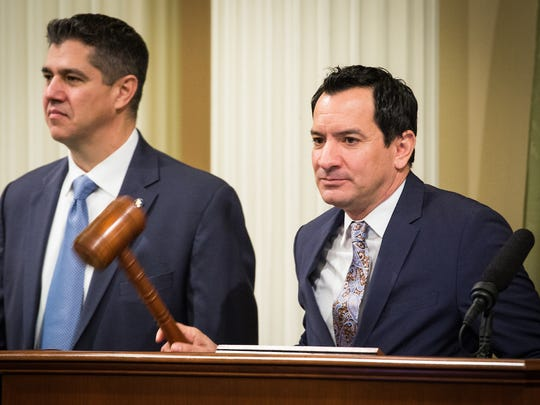 Assembly Speaker Anthony Rendon (right) calls the Assembly to order before the State of the State address at the State Capitol in Sacramento, California, January 25, 2018.