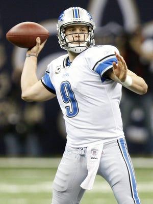 Detroit Lions quarterback Matthew Stafford passes against the New Orleans Saints on Jan. 7, 2012.