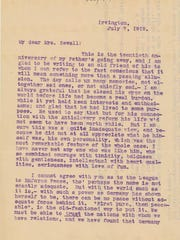 A letter between Grace Julian Clarke and May Wright