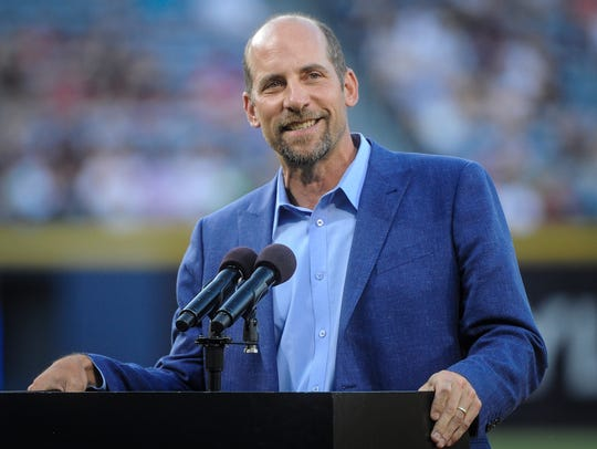 Former Atlanta Braves pitcher John Smoltz is honored