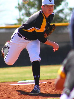 Alamogordo's Jarod Johnson releases a pitch Saturday afternoon at Tiger Field.