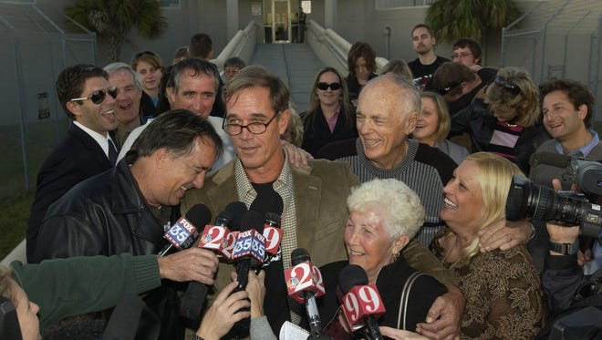 William Dillon is surrounded by family and friends at the front of the Brevard County Jail after being released on Nov. 18, 2008.