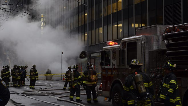 An electrical transformer exploded and burned Jan. 6, 2014, near the Time-Life Building in Midtown Manhattan. No injuries or loss of power were reported