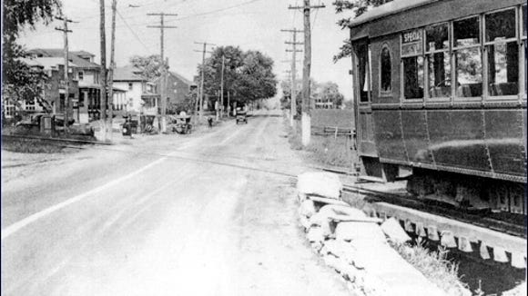 Trolley passing over Stony Run where it crosses the Lincoln Highway in Stony Brook, Springettsbury Township, York Co., PA (From Collections of York County Heritage Trust)