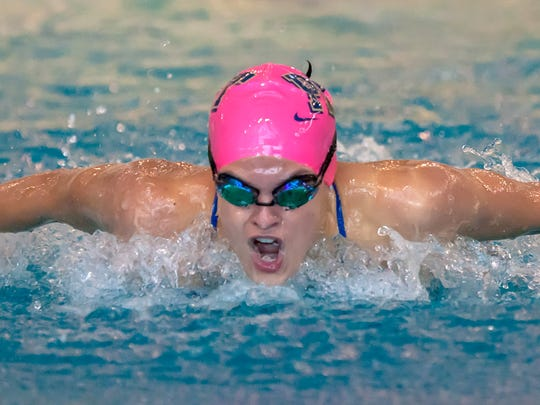 Pittsburgh freshman Maddy Thomas swims the butterfly