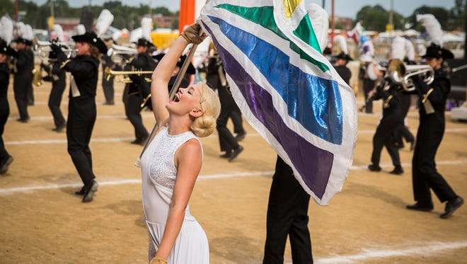 Winchester competes during Band Day at the Indiana State Fair Saturday.