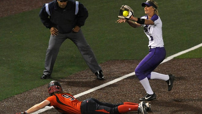 Texas Tech's Jessica Hartwell (9) steals third base ahead of the throw to Abilene Christian shortstop Peyton Hedrick (3) during the top of the sixth inning of the Wildcats' 2-1 loss on Tuesday, March 7, 2017, at ACU's Wells Field.