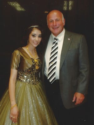 Shammarah Hamideh and Yonkers police Capt. Joseph Barca at her engagement party in Buffalo last year.